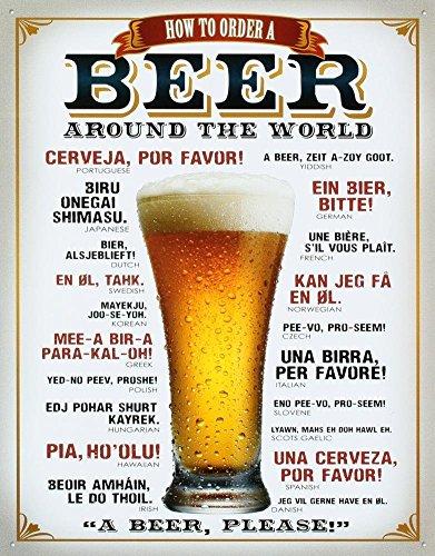 UNiQ Designs BEER AROUND THE WORLD 8 x 12 inch retro vintage wall décor tin sign. (Beer Around The World)