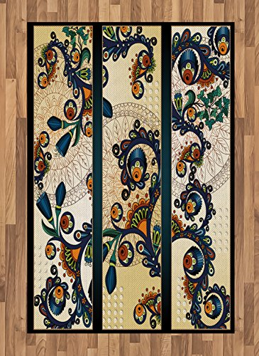 Abstract Area Rug by Lunarable, Paisley Batik Floral Design Ethnic African Hand Drawn Ornament Artwork, Flat Woven Accent Rug for Living Room Bedroom Dining Room, 4 x 6 FT, Navy Blue Orange Green (African Batik Art)