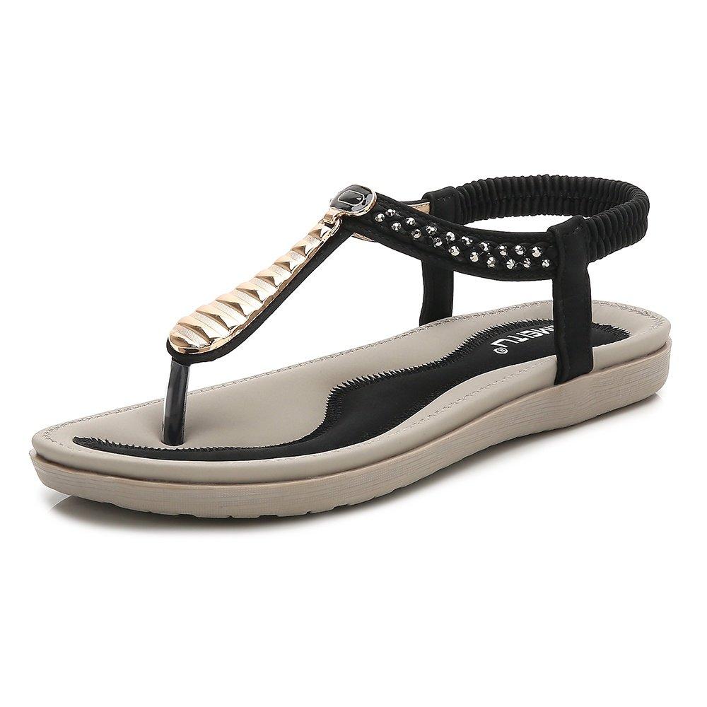 Wollanlily Womens Summer Flat Sandals T-Strap Bohemian Rhinestone Slip on Thong Shoes Black-02 US 6