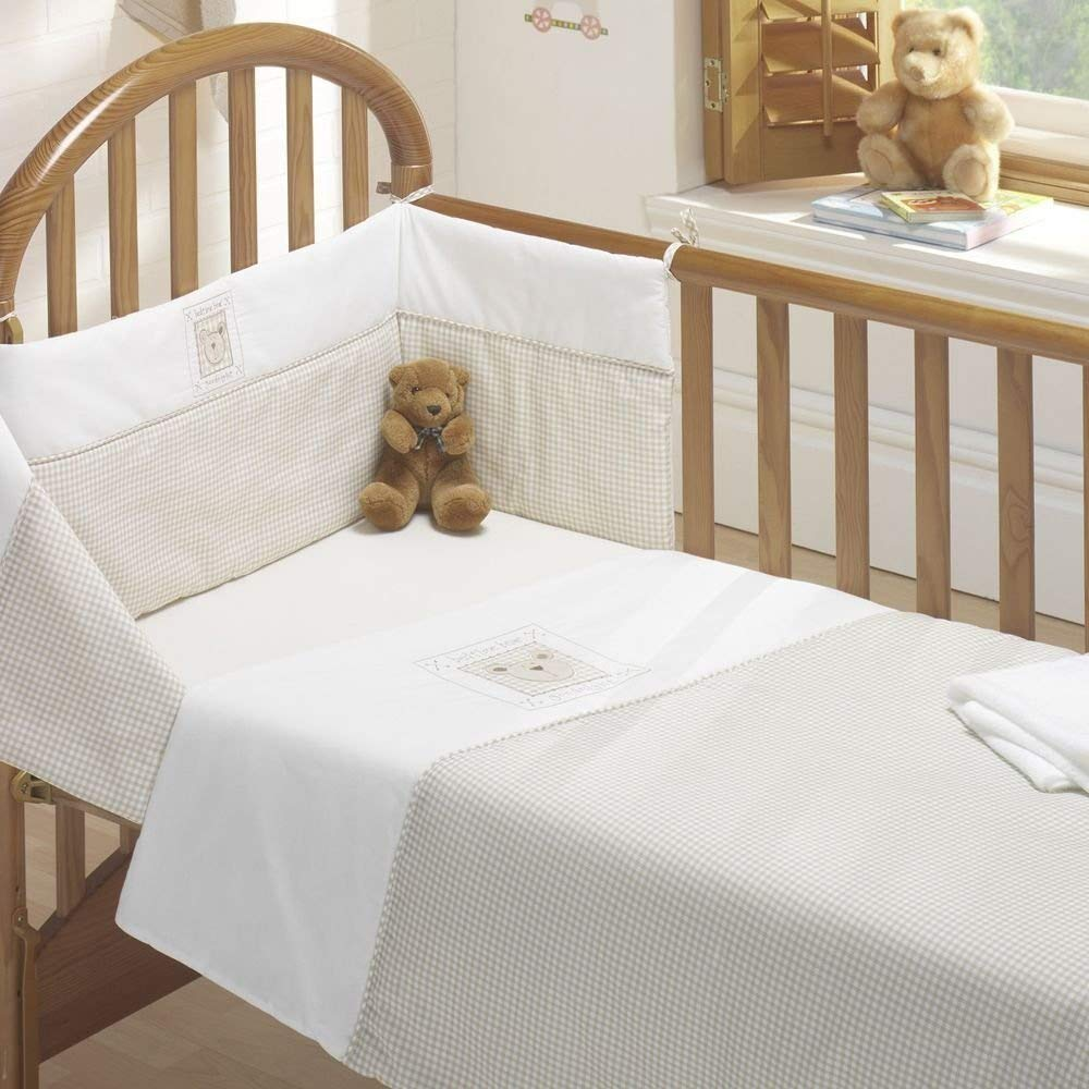 BEDTIME BEAR NURSERY BABY COT BED DUVET COVER QUILT BUMPER SHEET SET NATURAL NEW BEDMAKER