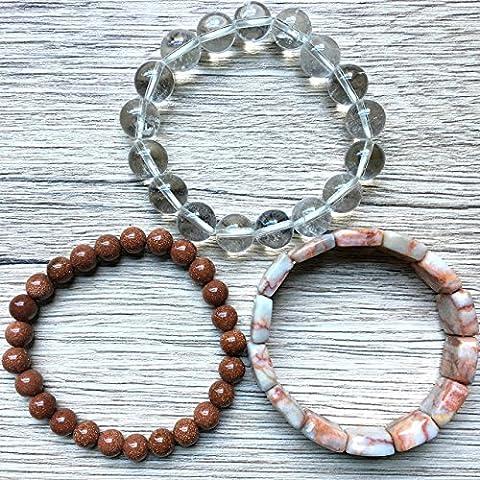 Bracelet Set 09 Quartz, Goldstone, Marble - Goldstone Set