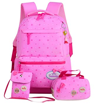 28e1f641a036 JiaYou Girl Boy Cute Lunch Bag Purse/Pencil Bag School Backpack 3 Sets  (24L, StyleG Pink)