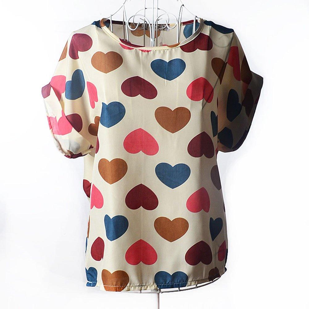7162b13ce6d Amazon.com  Women s Loose Casual Short Sleeve Flower Print Chiffon Top T-Shirt  Blouse  Clothing