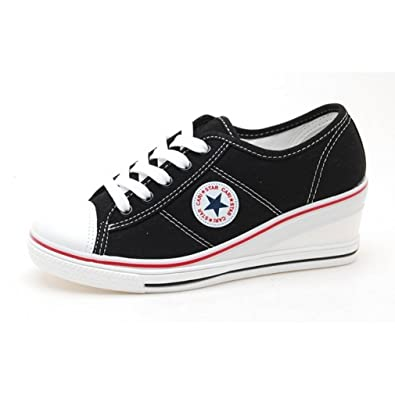 00948c6070ac EpicStep Women s Black Canvas Shoes High Heels Lace Up Fashion Sneakers  Platform Wedges 5.5 M US