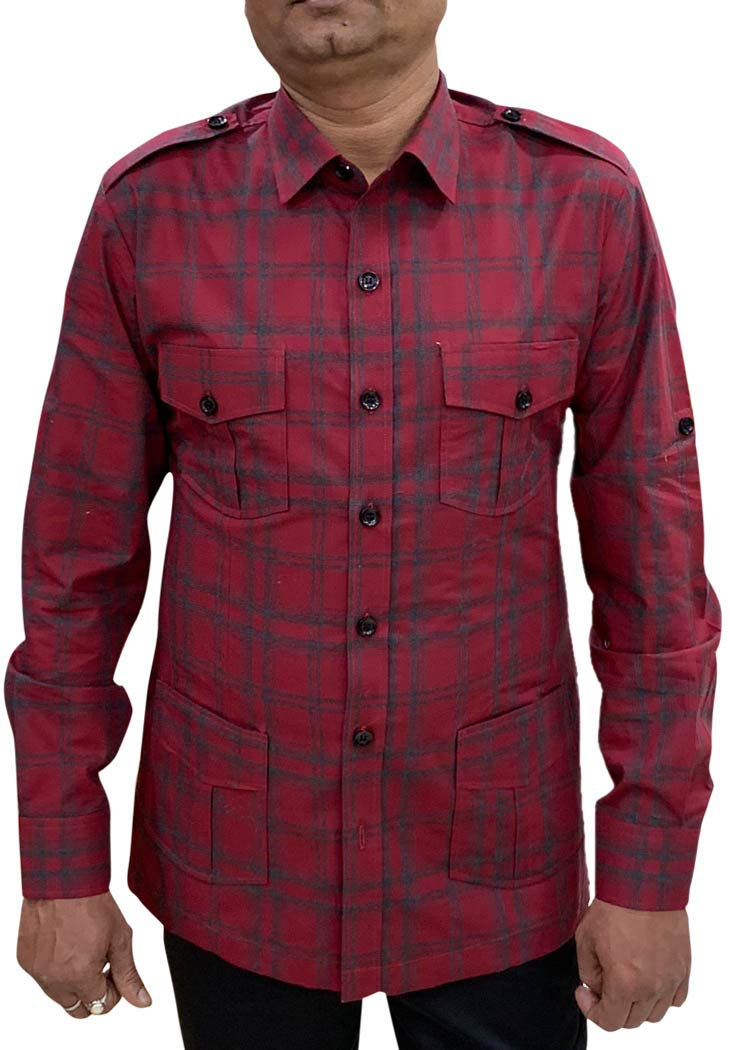 INMONARCH Boy Scout Uniform red Checks Safari Shirt Mens Hunting Shirts Full Sleeves HS121LARGE L (Large) Red by INMONARCH
