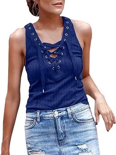 Mujer Camisetas Sin Mangas Slim Fit Color Sólido Camisa Sexy Cuello En V con Cordones Chaleco Verano Casuales Tank Tops S-XXXL: Amazon.es: Ropa y accesorios
