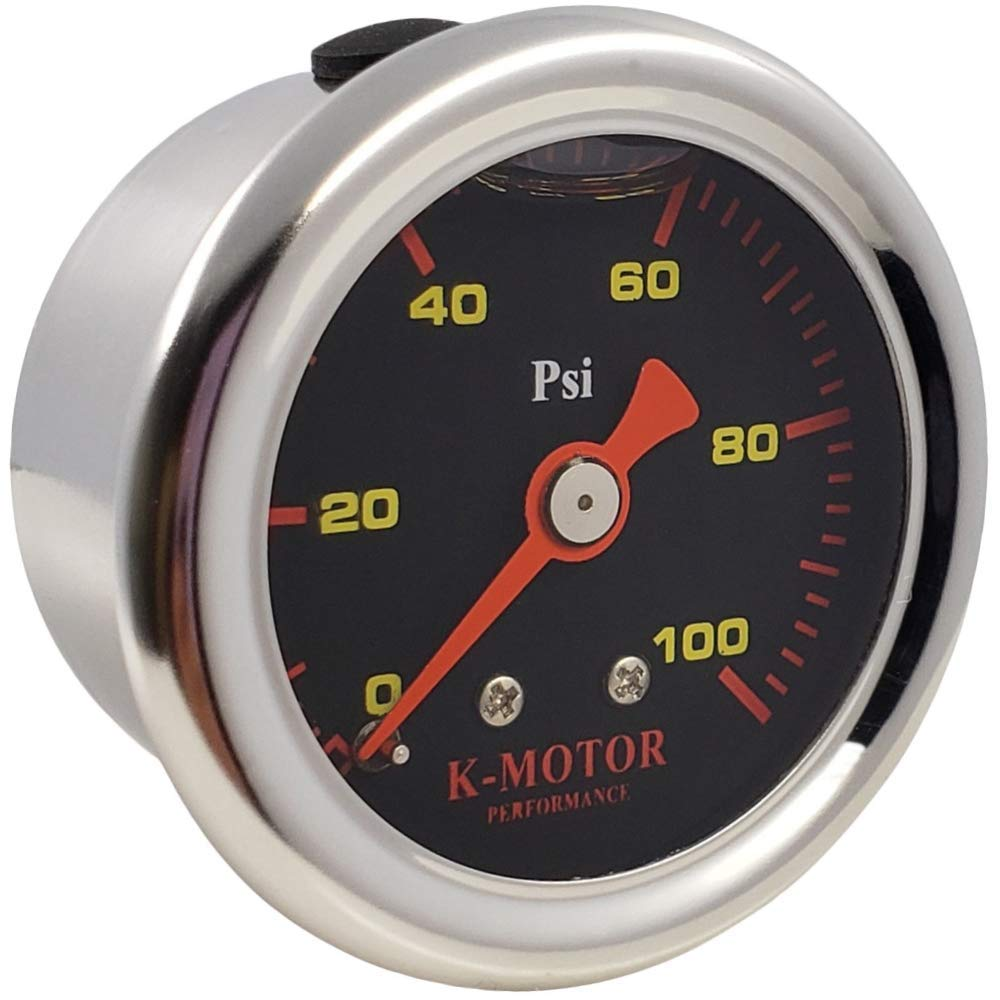 K-Motor Performance Fuel Pressure Gauge Meter with 1/8 Npt Thread 100 Psi (Black Face) by K-MOTOR PERFORMANCE