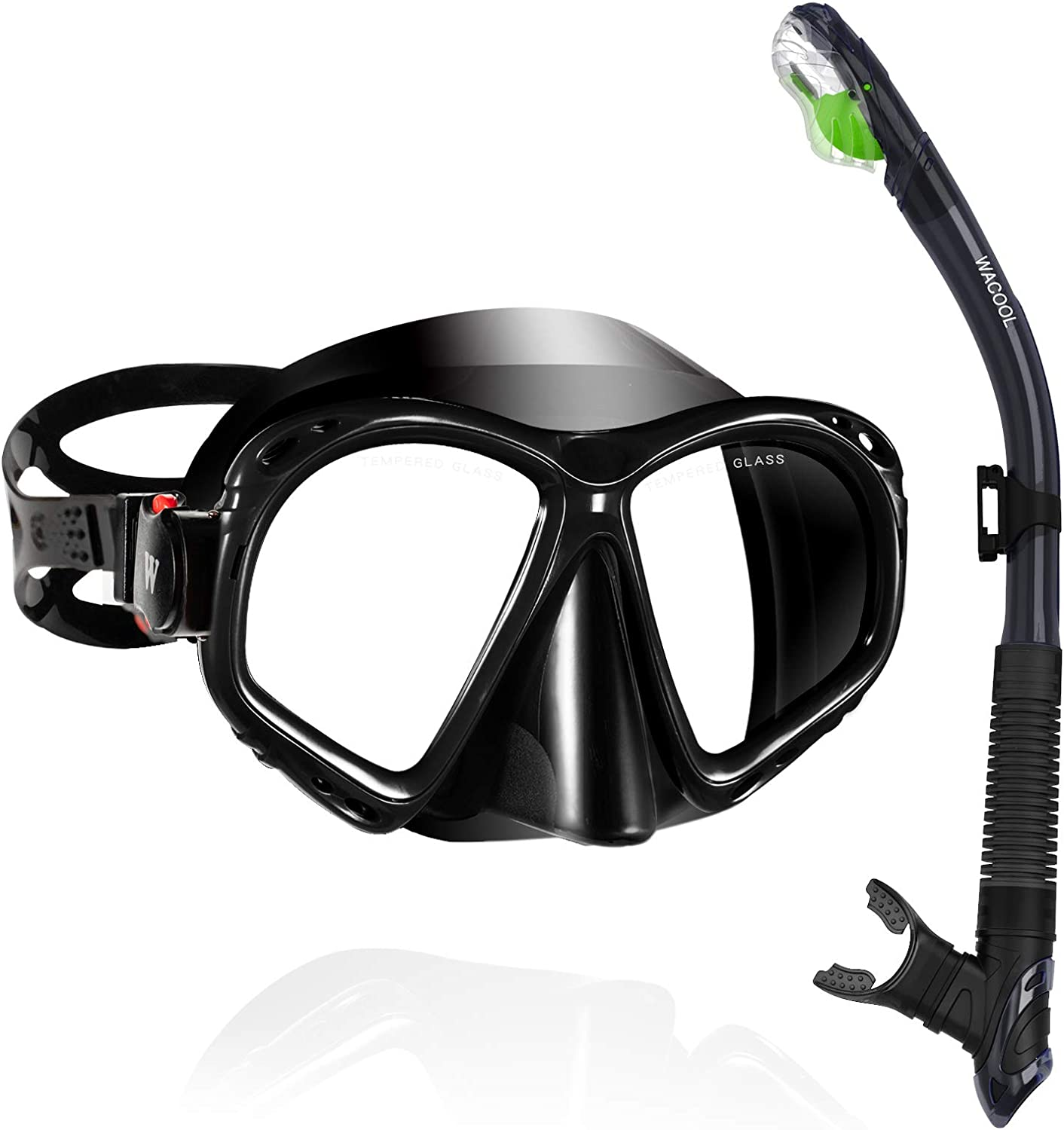 WACOOL Snorkeling Package Set for Adults Anti-Fog Coated Glass Diving Mask Snorkel with Silicon Mouth Piece,Purge Valve and Anti-Splash Guard w//Travel Short Swim Fins