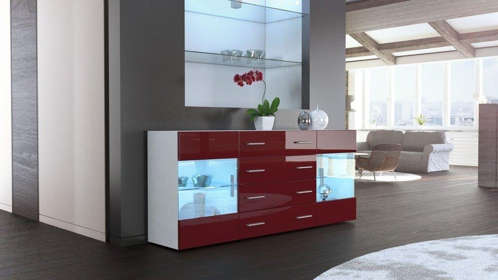 Credenza Moderna Rossa : Mobile credenza madia open bianco bordeaux rosso lucido 166: amazon
