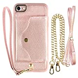 iPhone 8 Wallet Case, iPhone 7 Leather Case LAMEEKU iPhone 7 Case with Card Holder Slot, Protective Slim Cover with Crossbody Chain Strap & Wrist Strap for Apple iPhone 7 / iPhone8 4.7″ Rose Gold