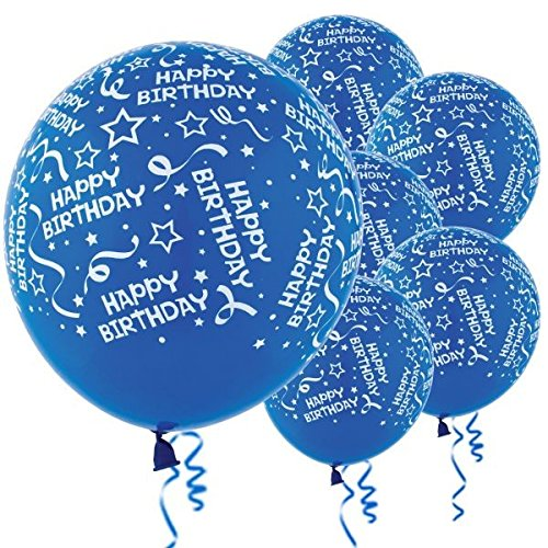 Amscan Birthday Confetti Royal Blue Latex Balloons | Pack of 6 | Party Decors