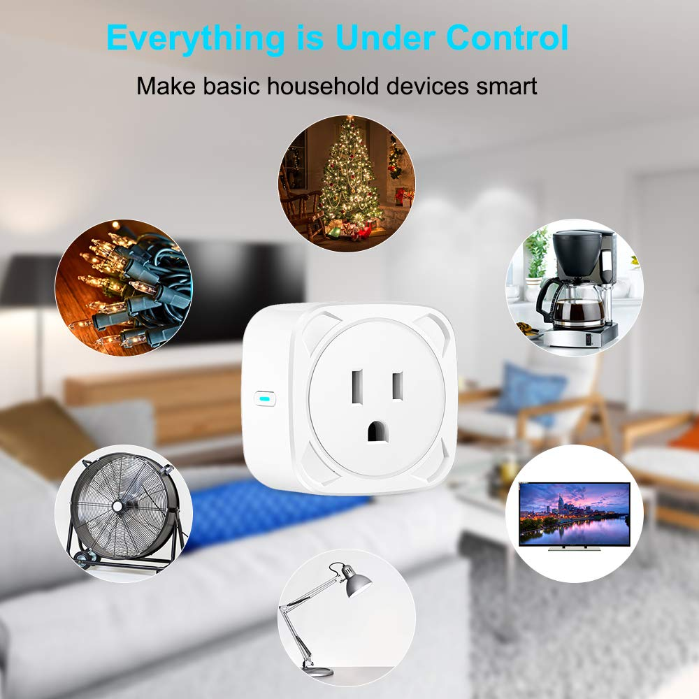 No Hub Required 10A Max Supported WiFi Smart Plug Socket Mini Wireless Outlet Compatible with Echo Alexa Google Home Aigital Wi-Fi Plug with Remote Control and Timer Function