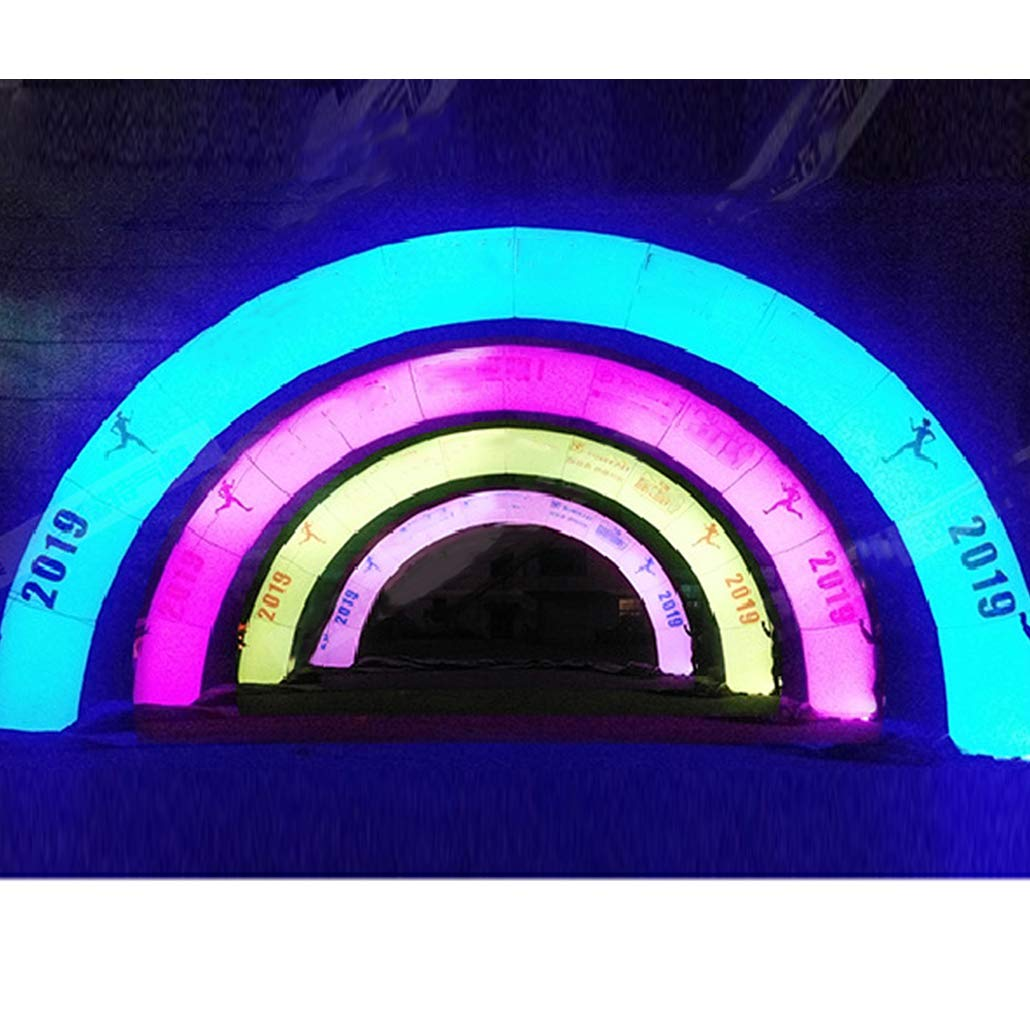 Mewsann エアブローアーチ エアブロー付き 生日飾り付け/パーティー/結婚式/新年会/マラソン/クリスマス イベント用テントおしゃれ虹色 4種類変色8m幅 送風機付き 防水 カラー LED デコレーション イベント 装飾 イベント 風船 エアアーチ   B07L2M37KJ