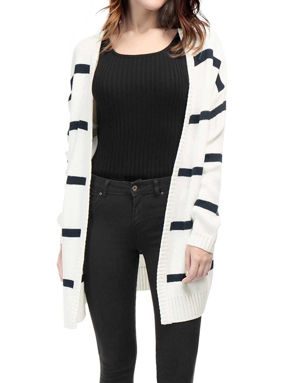 Allegra K Women's Stripes Open Front Knit Cardigan Sweater