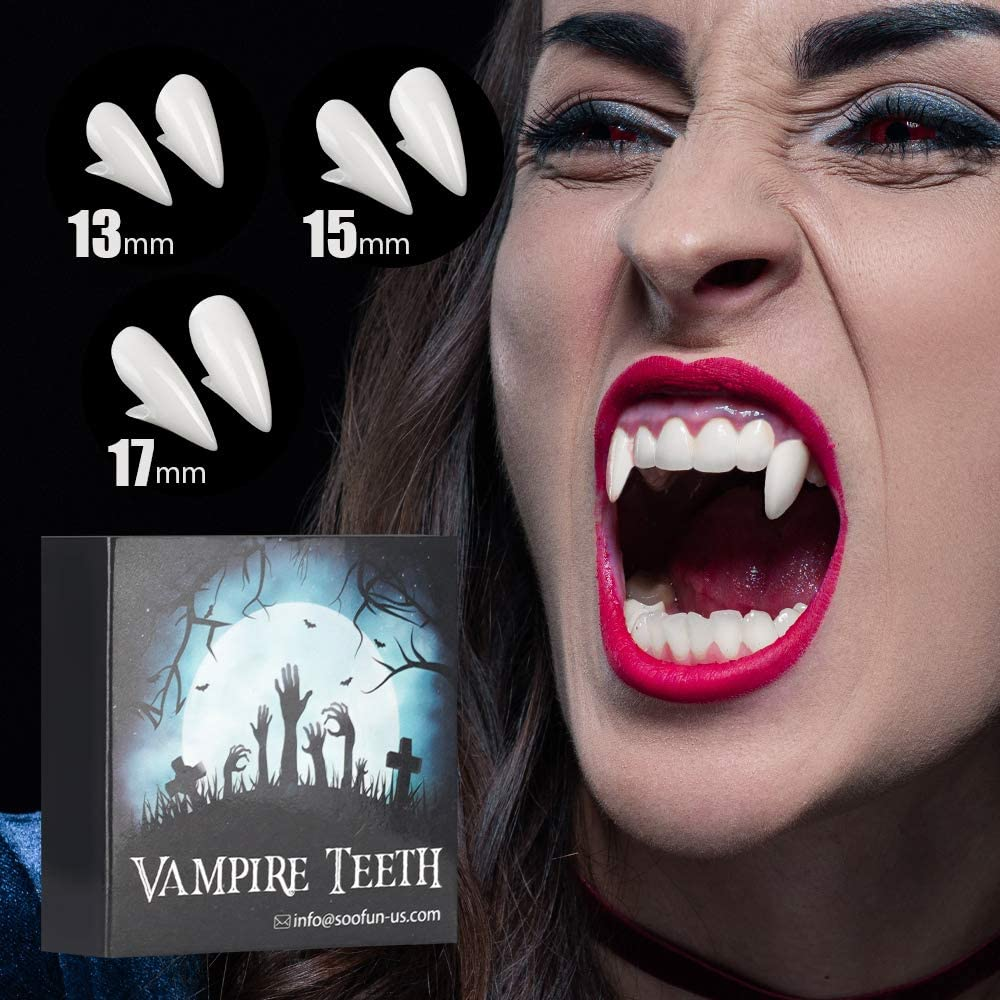Vampire Teeth for Halloween Party Cosplay,3 Pairs of Different Sizes Removable Kids Vampire Fangs Halloween Party Favors Dress-Up Accessories White PARIGO Vampire Fangs