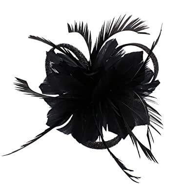 Djhbuy Fascinator Feather Flower Hair Clip Pin Brooch Bridal