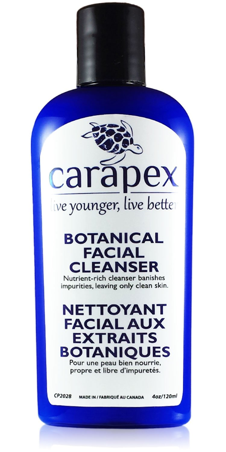 Carapex Botanical Facial Cleanser, for Sensitive Skin, Dry Skin, Oily Skin, Combination Skin, Aging Skin, Acne Prone Skin, to Remove Makeup, Gentle Unscented Natural Formula, Paraben Free, Helps Psoriasis, with Japanese Green Tea, Aloe 4oz 120ml CP2028
