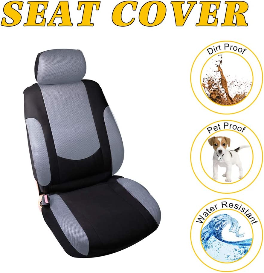 OCPTY Car Seat Cover Full Set with Steering Wheel Cover and w/Headrest 100% Breathable Automotive Accessories,Split Bench Black/Gray