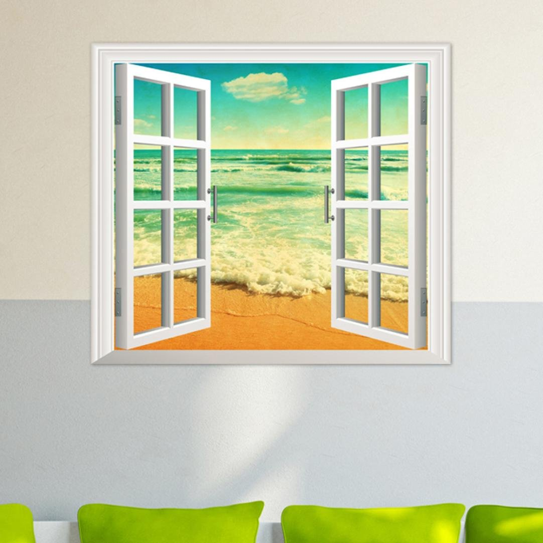 Transer 3D Window Ocean Beach Wall Sticker Decals Room Decor Vinyl Mural Art Removable (colorful)