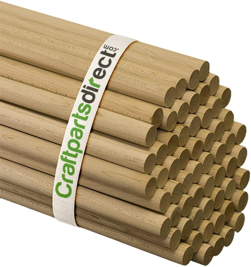 Bag of 300 Craftparts Direct 3//4 x 36 Unfinished Hardwood Sticks For Crafts and DIYers Wooden Dowel Rods