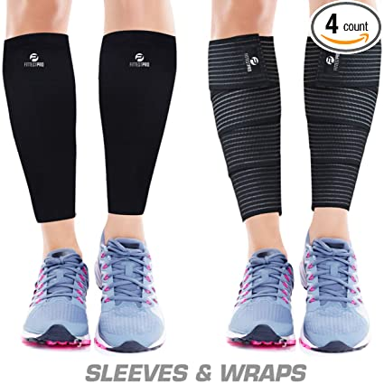94f9e0c33aa587 Calf Compression Sleeve Socks and Leg Wraps (4 Piece) Shin Splint Support,  Calve