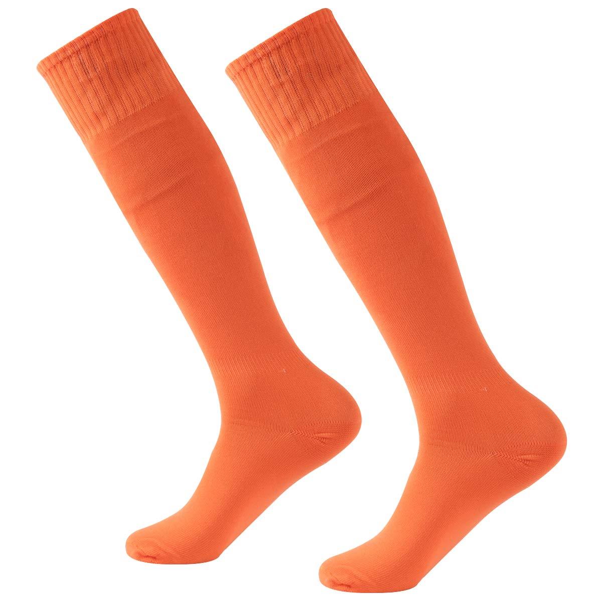 Baseball Socks,Fasoar Mens Womens Youth Over the Calf Rugby Cycling Soccer Socks 2 Pairs Orange by Fasoar