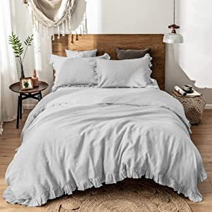 Simple&Opulence 100%Washed Linen Duvet Cover Set-3 Pieces Premium Ruffled Bedding with 1 Comforter Cover and 2 Pillowshams France Flax High End Frill Sets Farmhouse Style(Full,Grey)