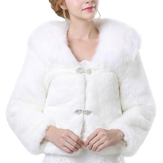 iBaste Corto Abrigos Pelo Sintético Mujer Blanco Chaqueta Faux Fur para Invierno Abrigo de Fiesta / Cena: Amazon.es: Ropa y accesorios