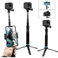 AuyKoo Wasserdichte Selfie Stick Stativ Verlängerung Aluminiumlegierung Handgriff Teleskop Handheld Selfie-Stangen für GoPro Hero7 Black Hero 6/5/4 Fusion iPhone XS Max/XS/X/8 Plus