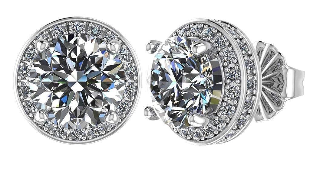 cbd8022f3 Amazon.com: NANA Sterling Silver & 14k post Swarovski CZ Round Halo Stud  Earrings- 4.0mm-0.85cttw -Platinum Plated: Jewelry