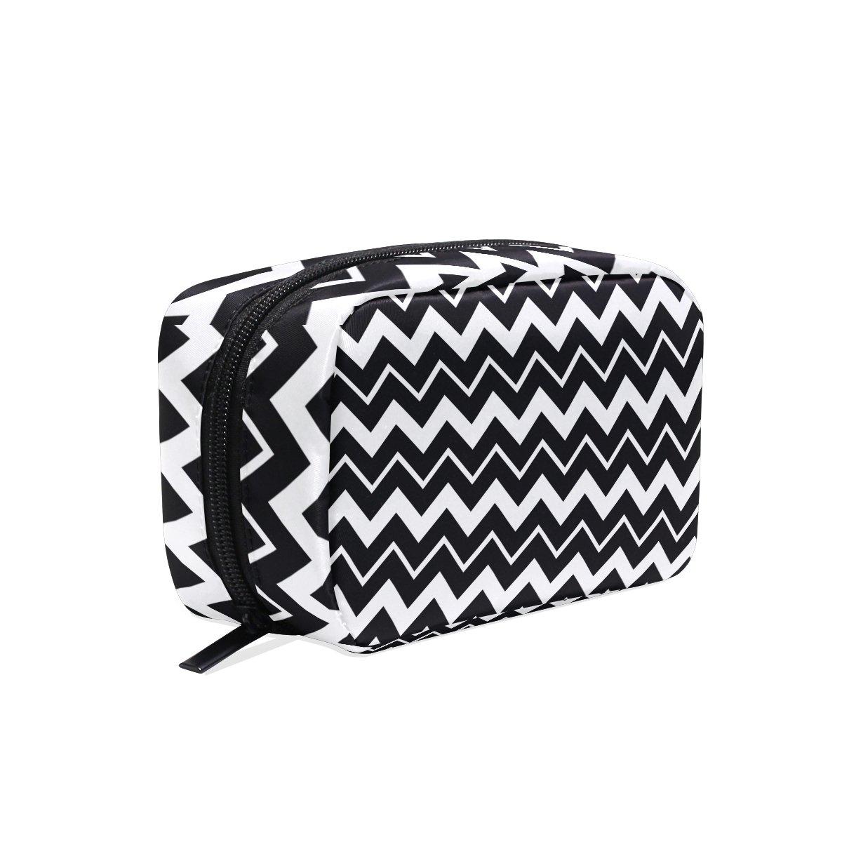 5e460ca9b7 Lorvies black chevron cosmetic pouch clutch makeup bag travel organizer case  toiletry pouch for women beauty