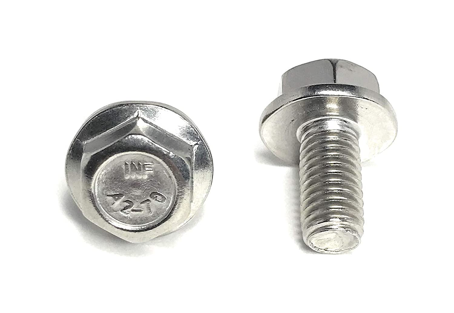 DIN 6921 10 PCS M8-1.25 x 20mm Flange Hex Head Bolts Stainless Steel A2-70
