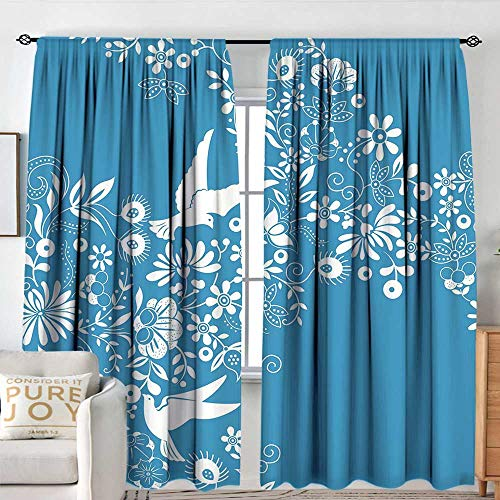 - NUOMANAN Curtains for Bedroom Blue,Ornamental Blooming Flowers on Branches with Flying Dove Birds Asian Chinese Design,Blue White,Insulating Room Darkening Blackout Drapes 100