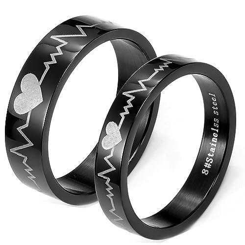 Flongo 2 Anillos pareja, Hombres Mujer, Latido del corazón, anillos compromiso/matrimonio
