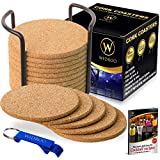 """Cork Coasters Round for Drinks with Holder - Premium Set 16 pcs 4"""", Thick 1/5"""" - Perfect to Protect Your Furniture, Heat Resistant, Moisture Absorbent - Best for Cold Drinks, Wine Glasses, Cups & Mugs"""
