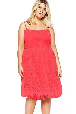 Sunshine Plus Size Dress Red Big Girl Sweet Lace Skater Dress At
