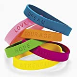 Inspirational Sayings Bracelets (48-Pack; Assorted Colors)