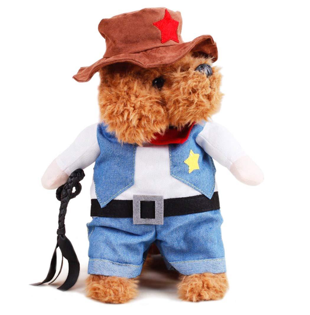 Xiaoyu Haustier Hund Katze Halloween Kostüme, Cowboy Jacke und Hut, Super süße Kostüme für Kleine Hunde & Katzen Cosplay M