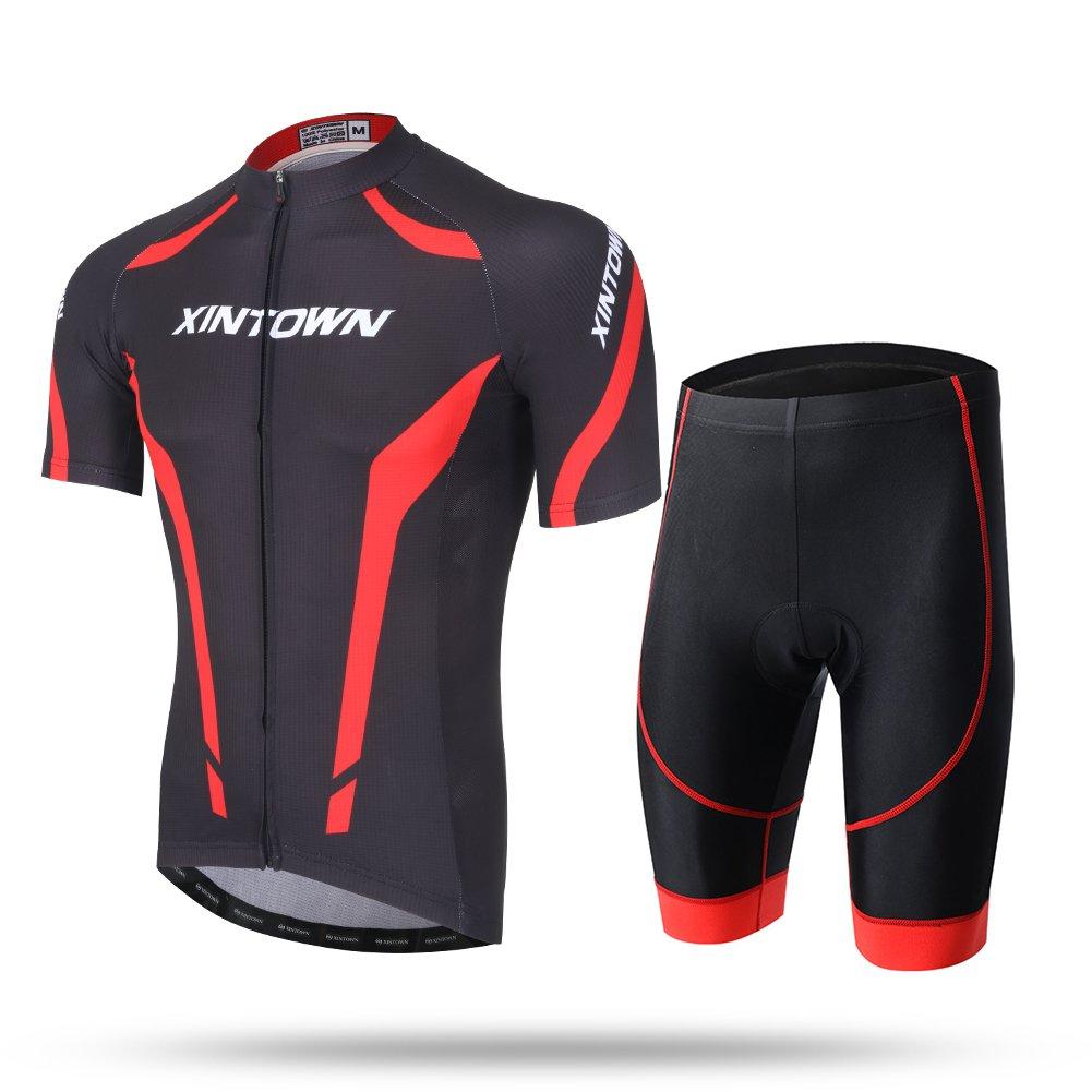 xintow Men 's Cycling Jerseyロード自転車Bib Shortsサイクル服ジャケット通気性クイックドライ半袖Sportwearシャツa125 B072BRXXQ1 Large Shorts Set Shorts Set Large