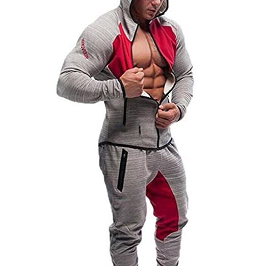 d3bb4fe2c805 Fashine Men Gym Zipper Hoodie Fit Hooded Sweatshirts with Two Zip Pockets  at Amazon Men's Clothing store: