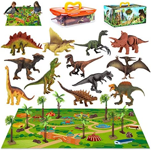 Velociraptor Boys /& Girls Educational Realistic Dinosaur Playset to Create a Dino World Including T-Rex for Kids YDPlaier Dinosaur Toy Figure with Activity Play Mat /& Trees Triceratops