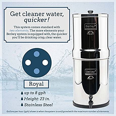 Royal Berkey Water Filter System 3 25 Gal With 2 Black Berkey Purifiers And 2 Fluoride Filters And Scrub Pad