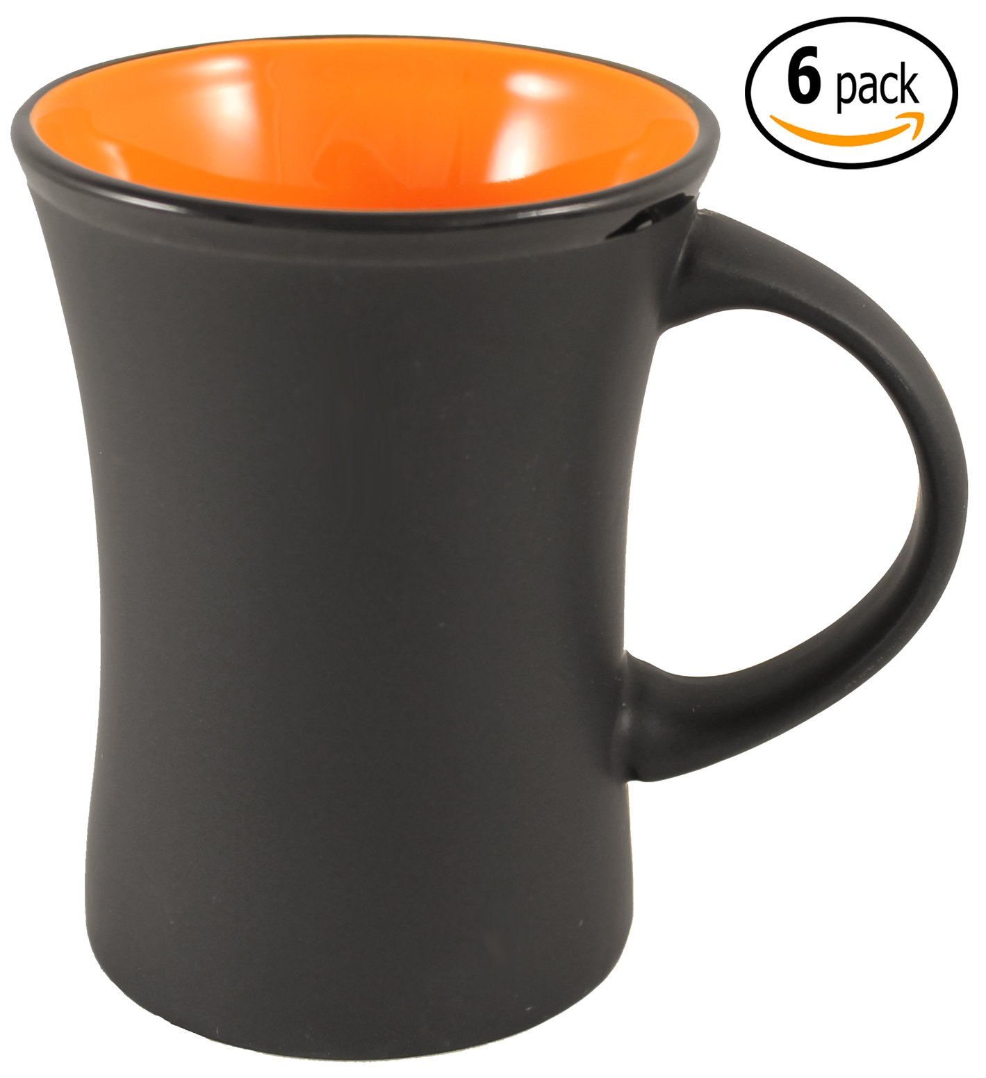 ITI Ceramic Flared Hilo Coffee Mugs with Pan Scraper, 9 Ounce (6-Pack, Orange)
