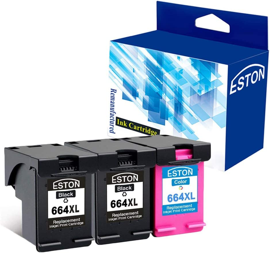 ESTON #664 XL Black/Color Ink for Deskjet Ink Advantage 1115 2136 3636 3836 (2Black 1Color)