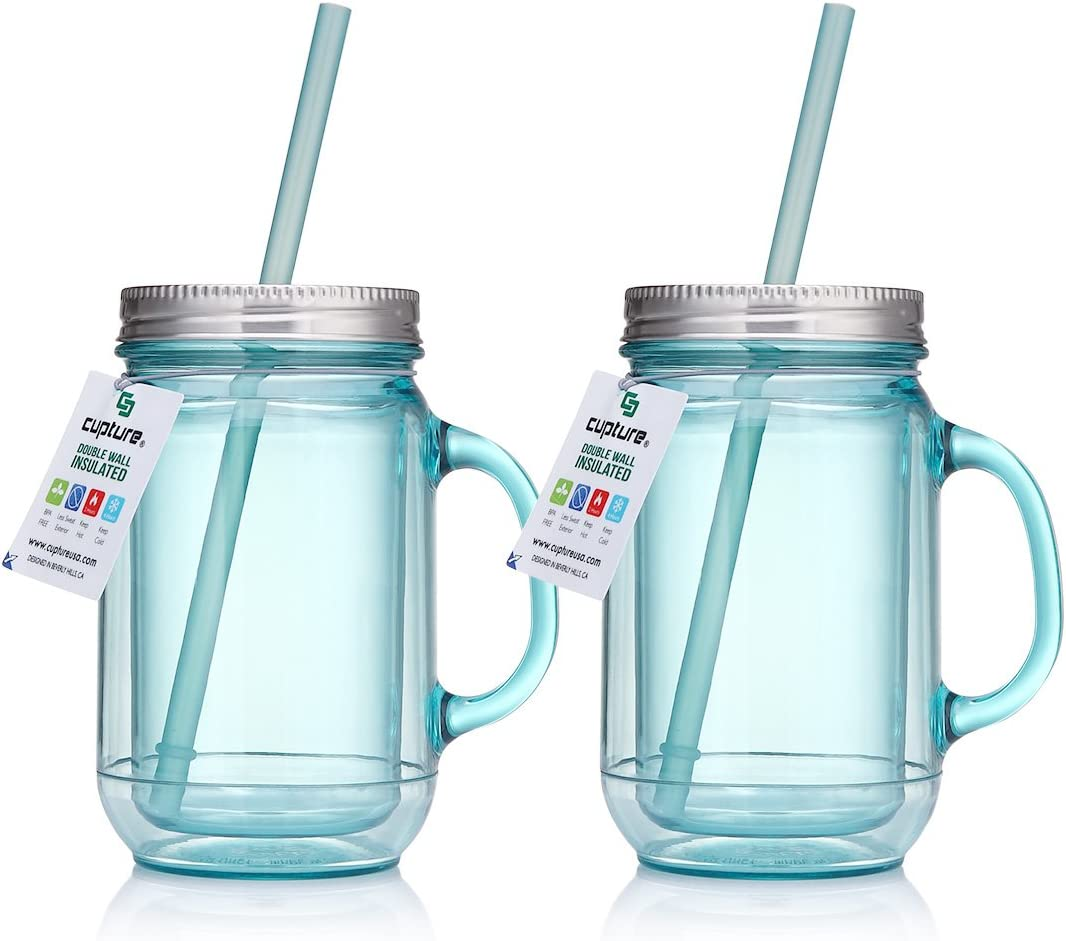 Cupture 2 Vintage Blue Mason Jar Tumbler Mug With Stainless Steel Lid and Straw - 20 oz