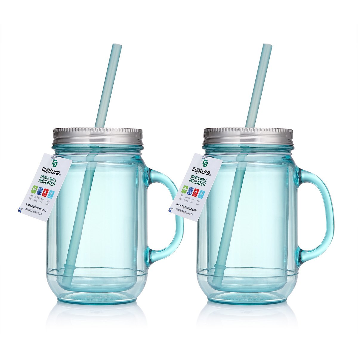 Cupture 2 Vintage Blue Mason Jar Tumbler Mug With Stainless Steel Lid And Straw   20 Oz by Cupture