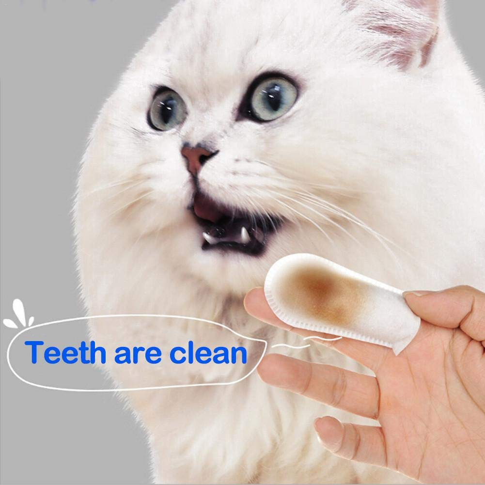 Cat Dog Pet Finger Wipes Oral Cleaning For Calculus Tartar Removal And Breath Freshing air Wipes transferable Seasons shop Pet Cleaning Tooth Wipes