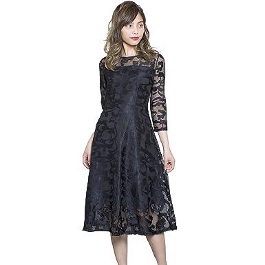 ed7351e766292 (LaLa shop16) 結婚式 ワンピース ドレス パーティードレス 黒 ミモレ丈 ひざ下 袖