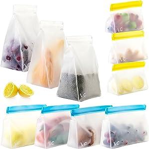 10 Pack Reusable Food Storage Bags STAND, BPA Free & PEVA Leak Proof, Food-Grade Reusable Freezer Bags,4 Reusable Sandwich Bags,3 Reusable Snack Bags,3 Reusable Gallon Bags