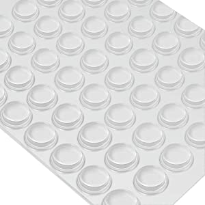 Furniture Bumpers, Clear Adhesive Bumper Pads Noise Dampening for Cabinets Doors Drawers and Surface Protection for Wall (128 Pieces, Cylindrical)